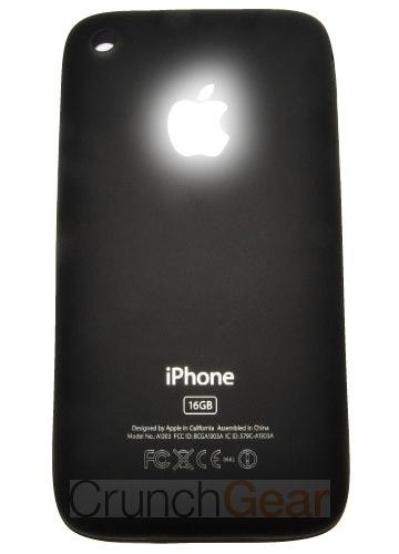 iPhone mit leuchtendem Apfel-Logo