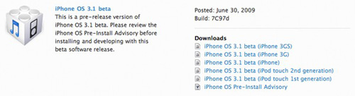 iPhone OS 3.1 beta Download