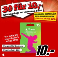 Media Markt Aktion: 15€ iTunes Karte für 10€
