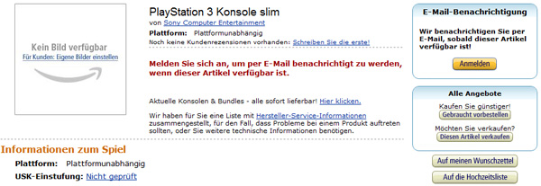 PlayStation 3 slim bei Amazon