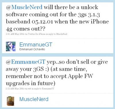 MuscleNerd bestätigt iPhone 3GS 3.1.3. Unlock
