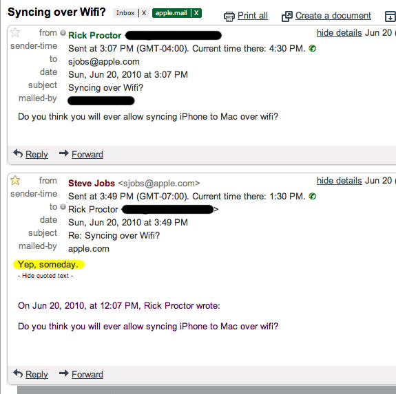 Steve Jobs E-Mail iTunes WLAN Sync