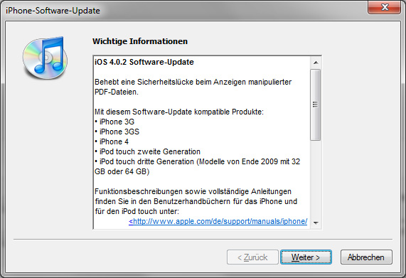iPhone iOS 4.0.2 Update