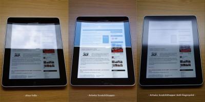 iPad Display Schutzfolie Artwizz ScratchStopper & ScratchStopper Anti-Fingerprint im Vergleich