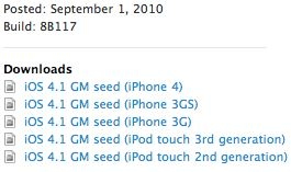 iOS 4.1 Golden Master Download