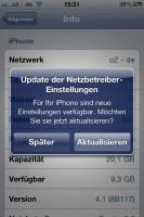 iPhone 4: Update der Netzbetreiber Einstellungen