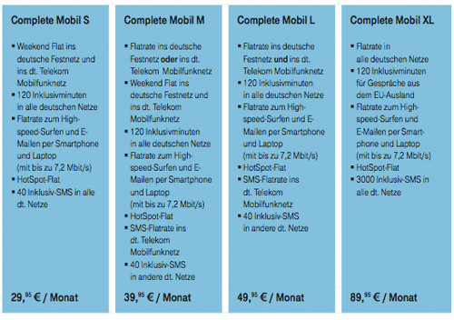 Telekom Complete Mobil Tarifübersicht