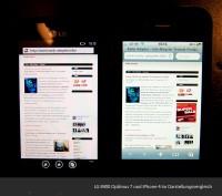 LG E900 Optimus 7 und iPhone 4 im Darstellungsvergleich