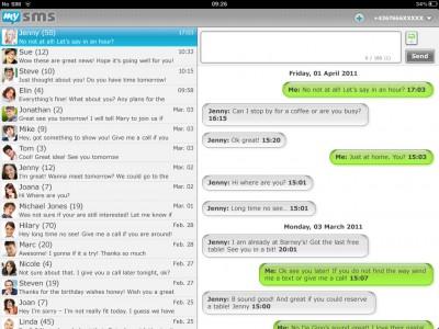 mysms auf dem iPad