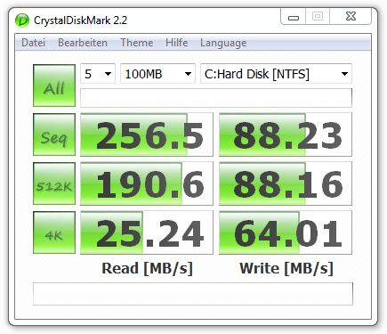 CrystalDiskMark 2.2 nach PC Upgrade (Intel RapidStorage Treiber)