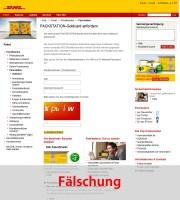 DHL-Packstation Phishing-Seite