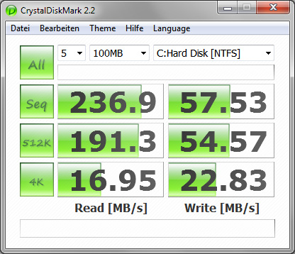 CrystalDiskMark 2.2 vor PC Upgrade