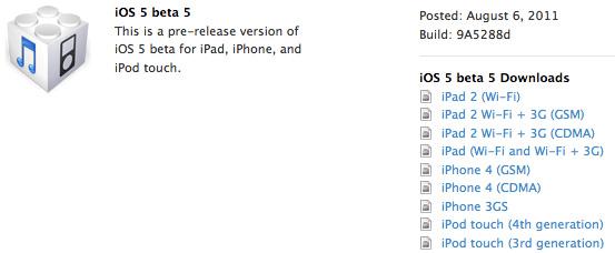 iOS 5 Beta 5