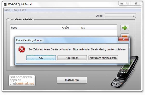 WebOS Quick Install: Keine Geräte gefunden