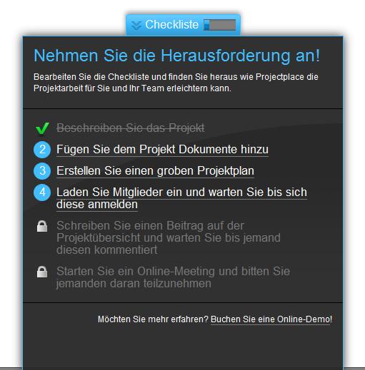 Projectplace: Checkliste beim Start