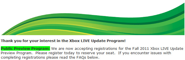 Xbox LIVE Dashboard Update Beta-Test