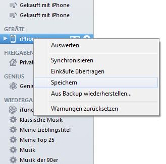 iOS 5 Backup erstellen