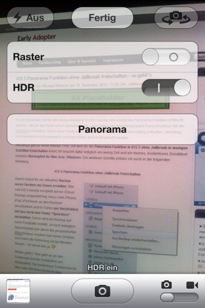 iOS 5 Panorama-Funktion