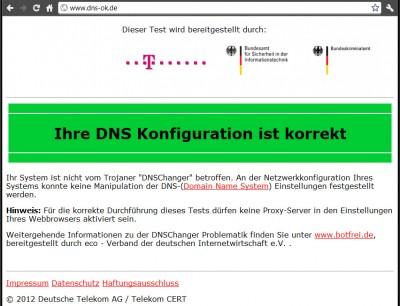 DNSChanger Test Ergebnis