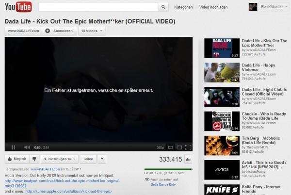 YouTube: Ein Fehler ist aufgetreten