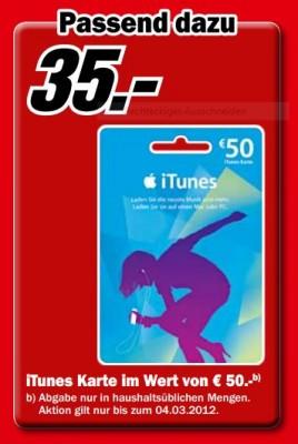 Media Markt: 50€ iTunes Karte für 35€