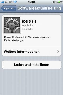 iOS 5.1.1 auf dem iPhone 4