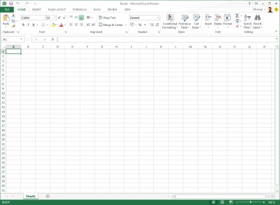 Office 2013 Excel Preview Screenshot