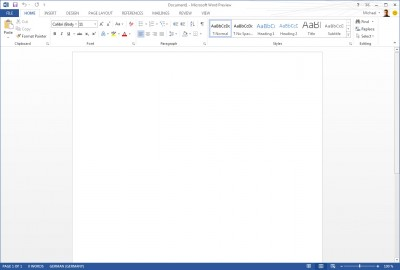 Office 2013 Word Preview Screenshot