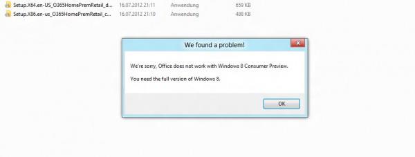 Office 2013 Preview Installation Fehlermeldung