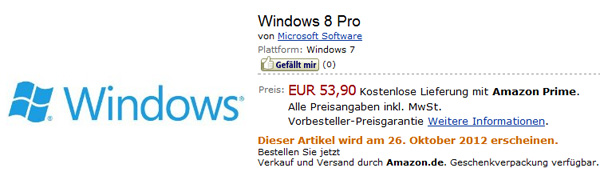 Windows 8 Pro bei Amazon