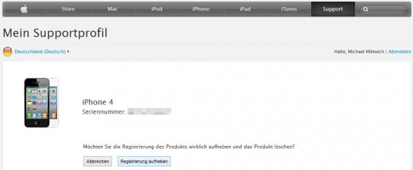 Apple Supportprofil: Registrierung aufheben