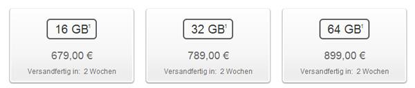 iPhone 5 Lieferdauer