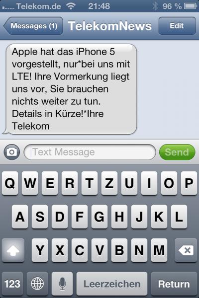 iPhone 5 Telekom LTE Werbe-SMS
