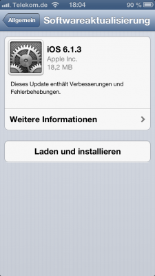 iOS 6.1.3 OTA-Update auf iPhone 5