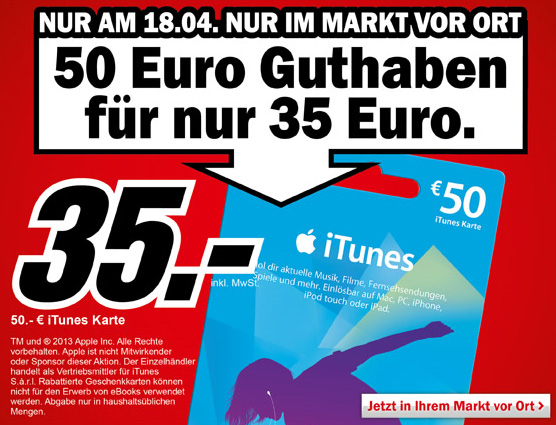50 iTunes-Karte im Angebot bei Media Markt
