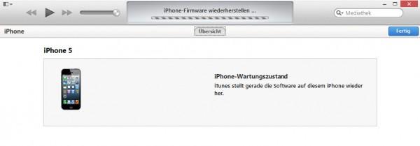 iPhone im Wartungszustand / Wiederherstellung