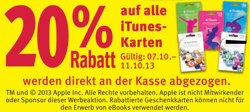 iTunes-Karten Rabatt bei Rossmann