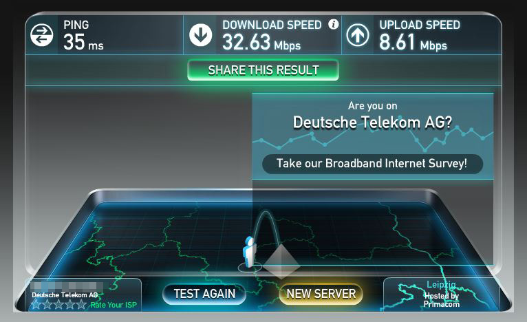 Speedtest: PC per LAN zu Powerline Adapter