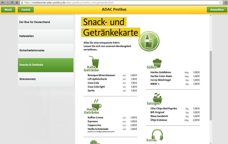 ADAC Postbus: Preise für Getränke und Snacks