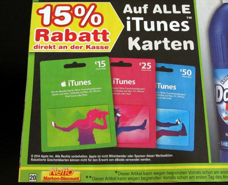 15% Rabatt auf iTunes Karten bei Netto