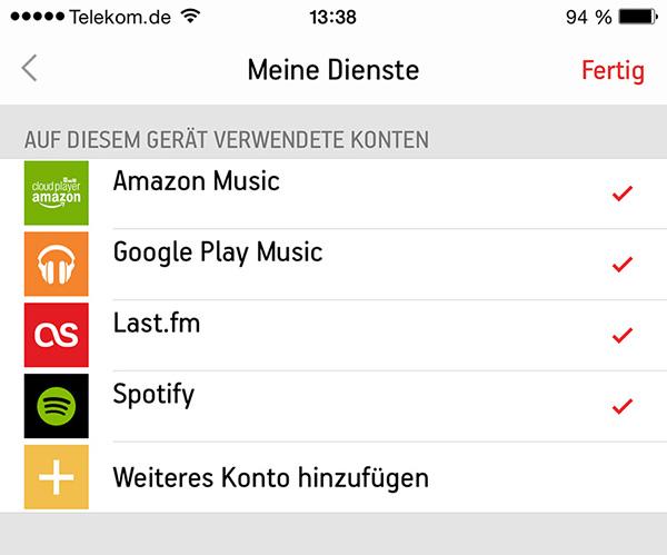 Meine Sonos Play:1 Dienste