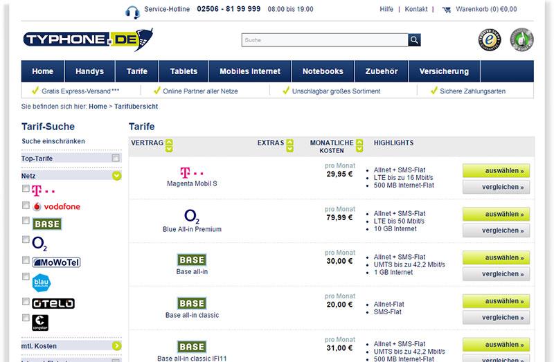 Typhone.de Allnet Tarife